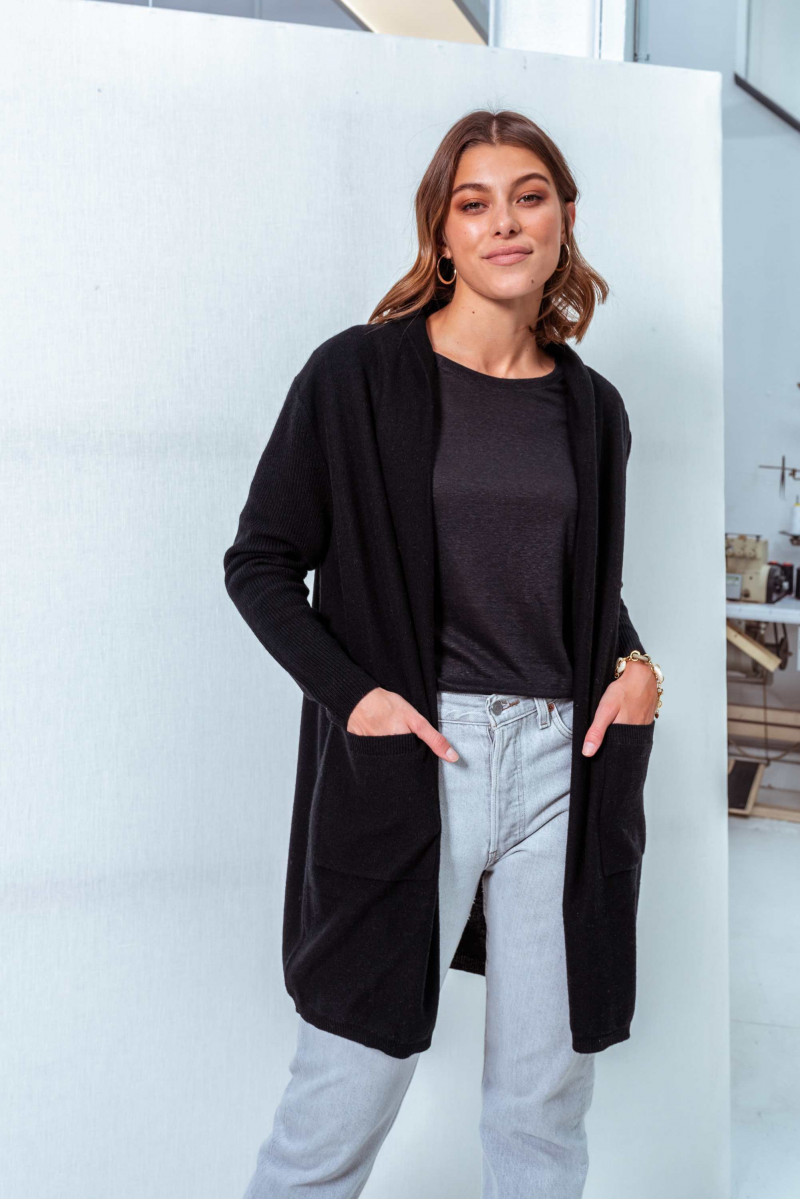 Cardigan long en laine et...