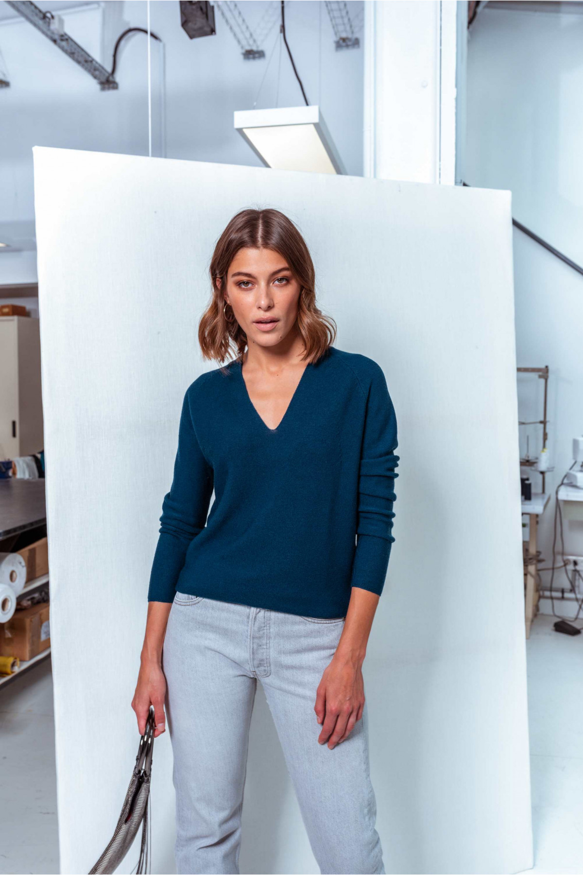 Pull pure laine point mousse ROSA - Prusse