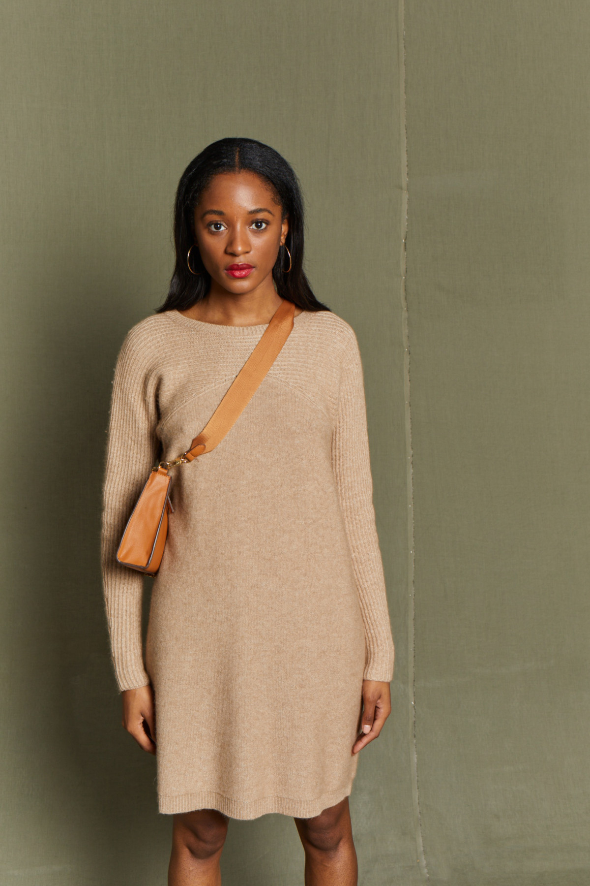 Robe Col rond Lambswool et Cachemire  GABBY - Capuccino
